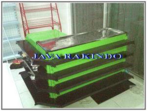 meja kasir shelving hijau